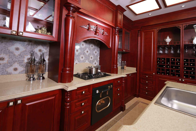 China Fancy Italian Style All Wood Mahogany Kitchen Cabinets Lacqure Furniture