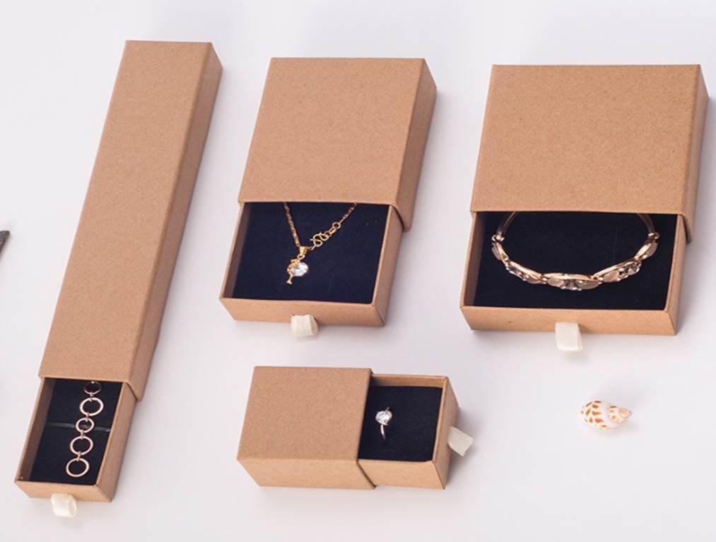Hot Item Kraft Paper Small Big Paper Drawer Box Sliding Drawer Box Jewelry Jewellery Bracelet Rings Gift Boxes Jewelry Box