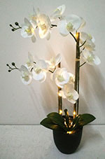 China 25 potted artificial flowers orchid with led light real 25 potted artificial flowers orchid with led light real touch white phalaenopsis in black mightylinksfo
