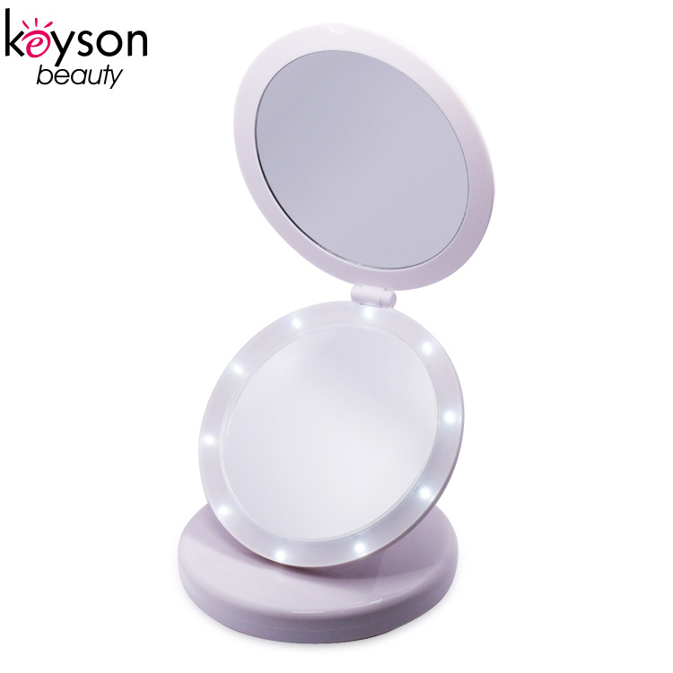 Small Lighted Makeup Mirror.Hot Item Small Travel Two Sides Round Glass Led Lighted Makeup Mirror