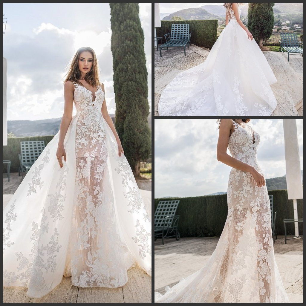 china fashion sheer bridal gown dismountable train 2 in 1