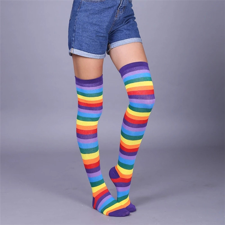 e9b163c5bb1 Fashion Cotton Over Knee Socks Top Quality Women Girl Blue and White Striped  Compression Thigh High Stocking with Low MOQ