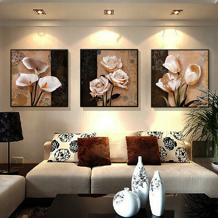 3 Piece Hot Sell Modern Wall Painting Home Decorative Wall Art Picture Painted on Canvas Flowers Painting with Framed Mc-198