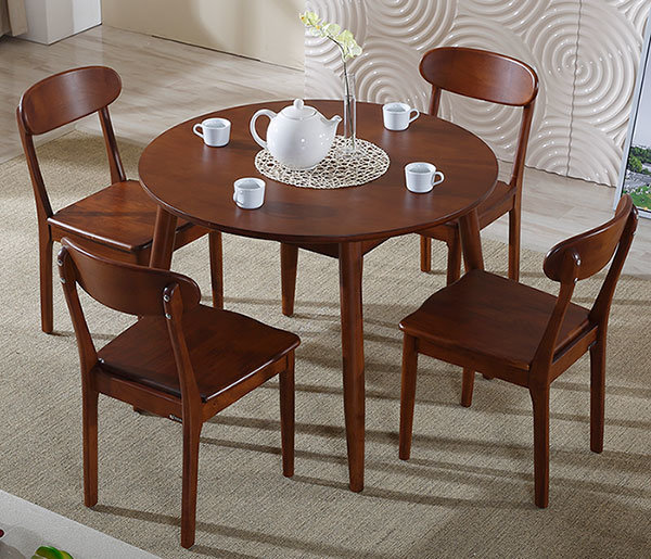 China Solid Wood Walnut Round Dining Table Chair Set For Dining Room Furniture China Dining Table Dining Room Furniture