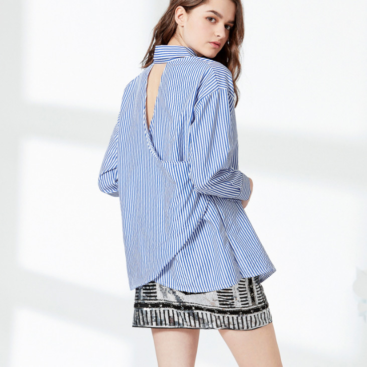 Fashion Women Leisure Slim Hollow Back Stripe Embroidery T-Shirt Blouse
