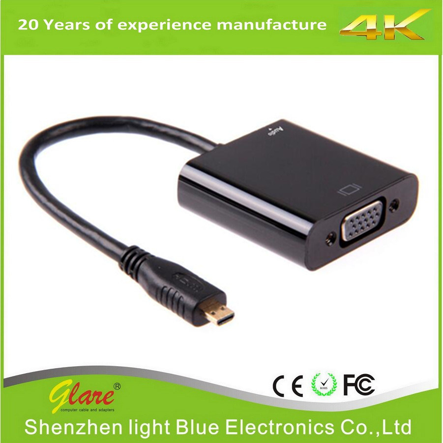 China High Quality Micro Hdmi To Vga Converter Cable Support 1080p Cabel Type D
