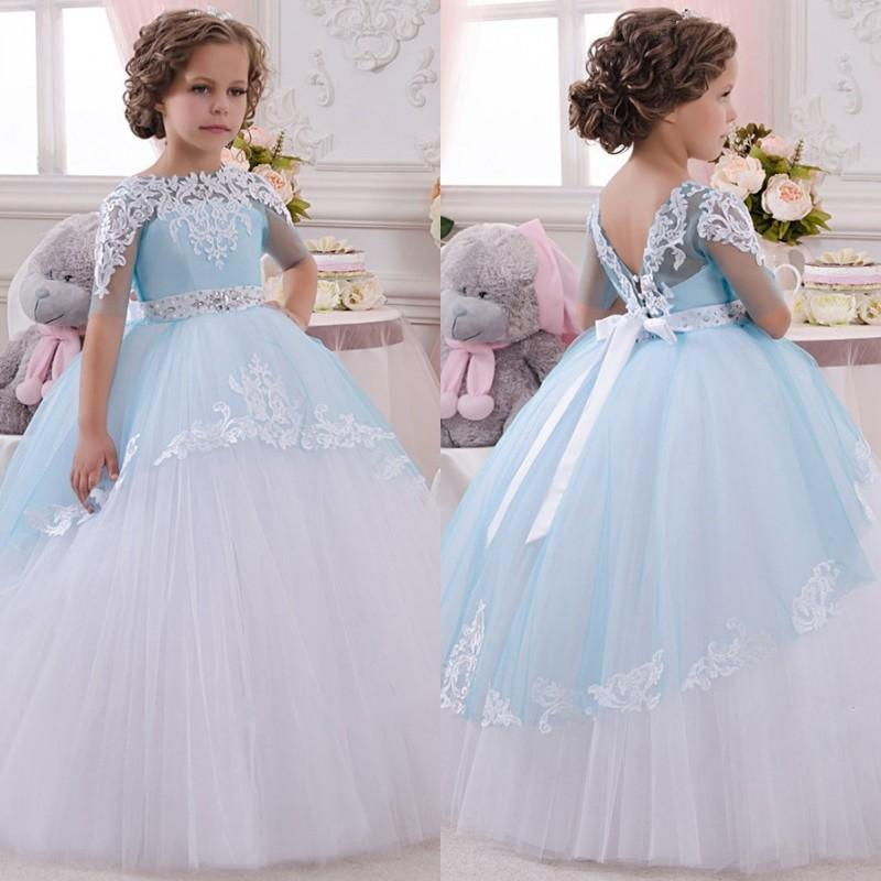 021ec143c7e9 China Lace Girl Formal Gowns Blue Wedding Flower Girl Dresses F2017 ...