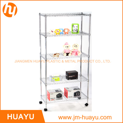 Five Tier Movable Chrome Finish Storage Rack for Storage or Display