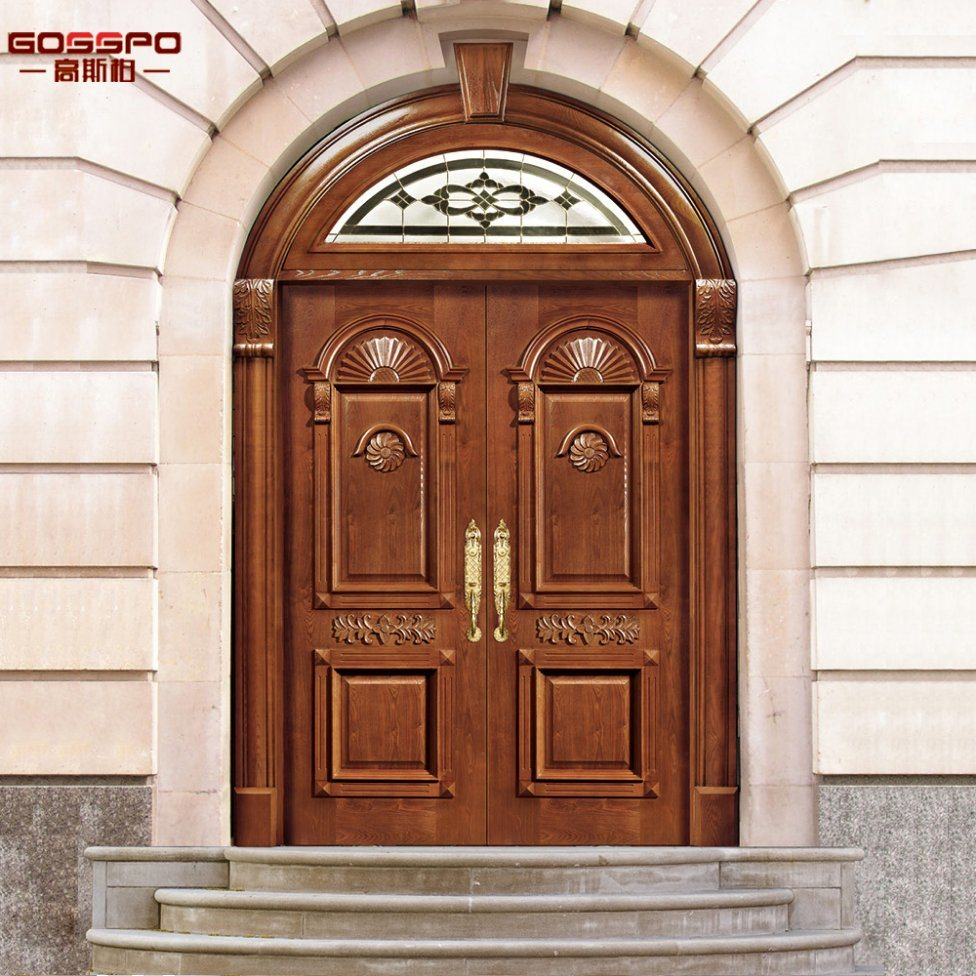 China Church Round Top Exterior Wood Door With Transom