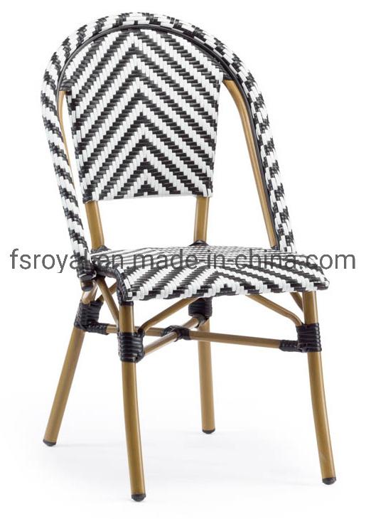 China Mid Century Black Rattan Wicker Dining Chair With Bamboo Looking Aluminium Legs China Restaurant Chair Restaurant Furniture