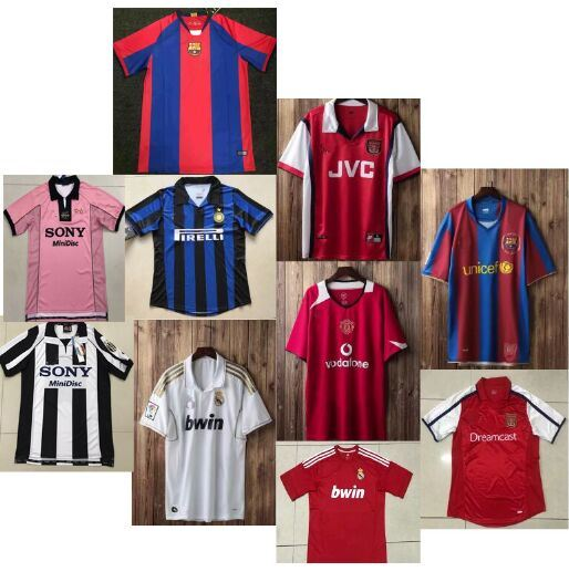 wholesale dealer aec70 5c3c1 [Hot Item] Retro Soccer Jerseys Maglia Juventus Barcelona Real Madrid Man  Utd Arsenal Inter Milan Juventos Shirts