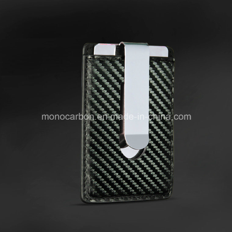China New Combination Metal Money Clip Carbon Fiber Leather Business ...