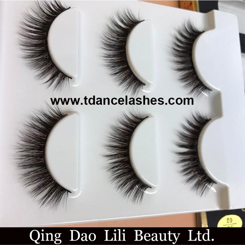 58fb0cf10a6 Free Shipping 3PCS/Lot 100% Handmade Real Mink Fur False Eyelash 3D Strip Mink  Lashes Thick Fake Faux Eyelashes Makeup Beauty