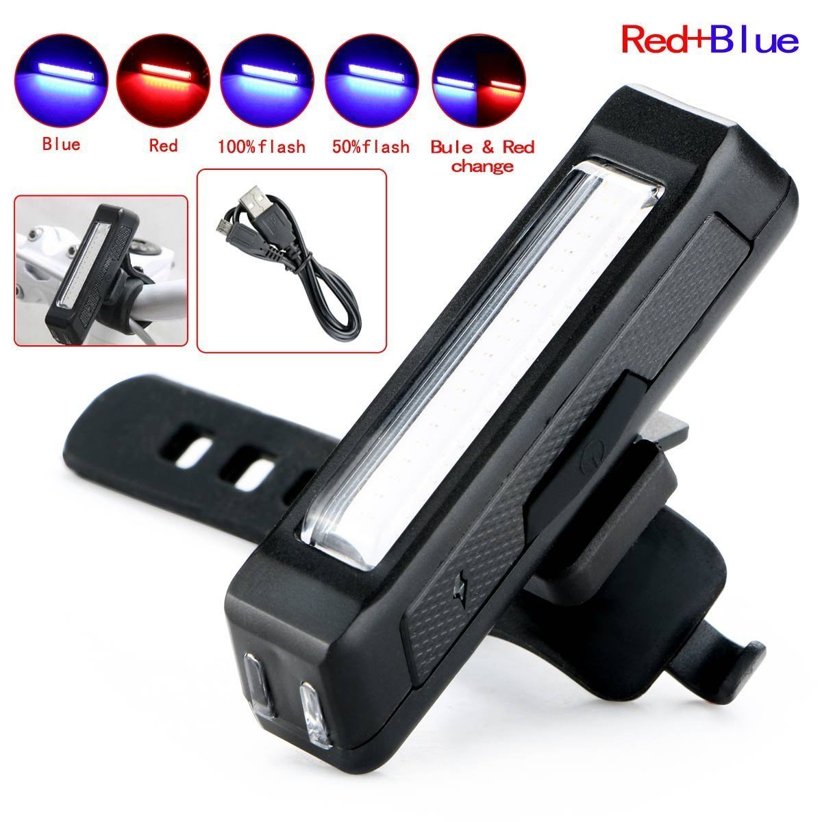 USB Rechargeable COB LED Bicycle Front Rear Bike Tail Light