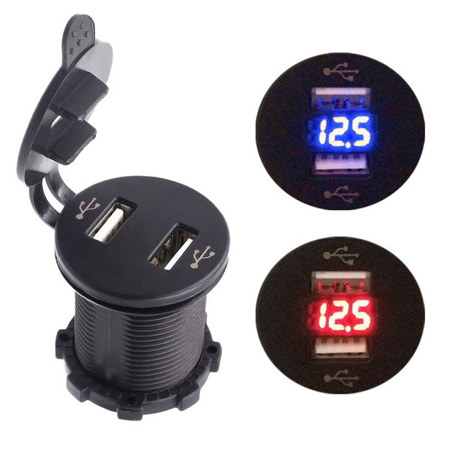 4.2A Dual USB Charger Socket Power Outlet 2.1A & 2.1A with Voltmeter for iPad iPhone Car Boat Marine Mobile Blue/Red LED Light