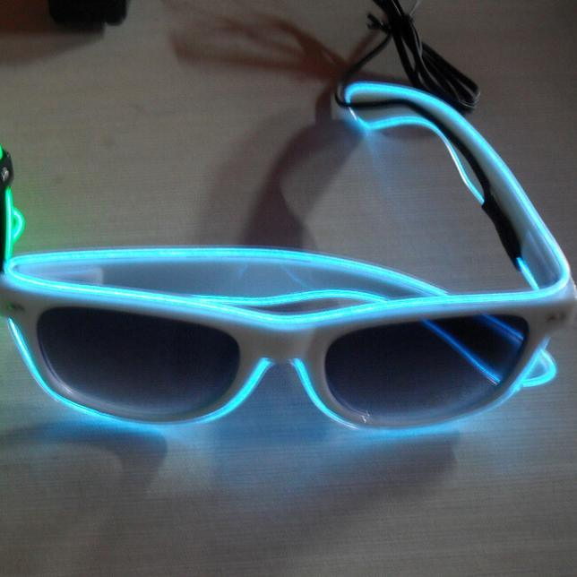 China Sky Blue Battery Operated EL Wire LED Glasses Cool Novelty ...