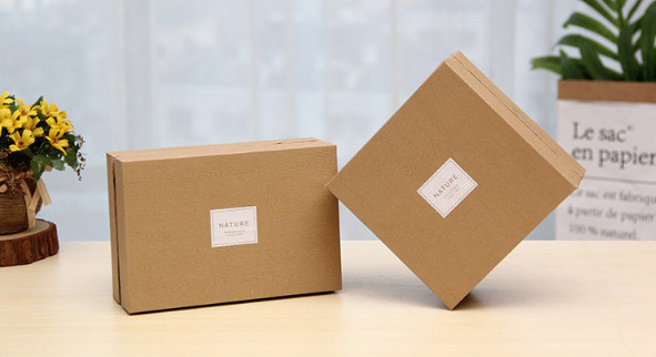 Hot Item Logo Printed Kraft Paper Lid And Base Product Packaging Gift Box