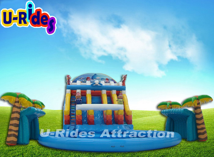Giant toy inflatable Water Park with swimming pool and slide