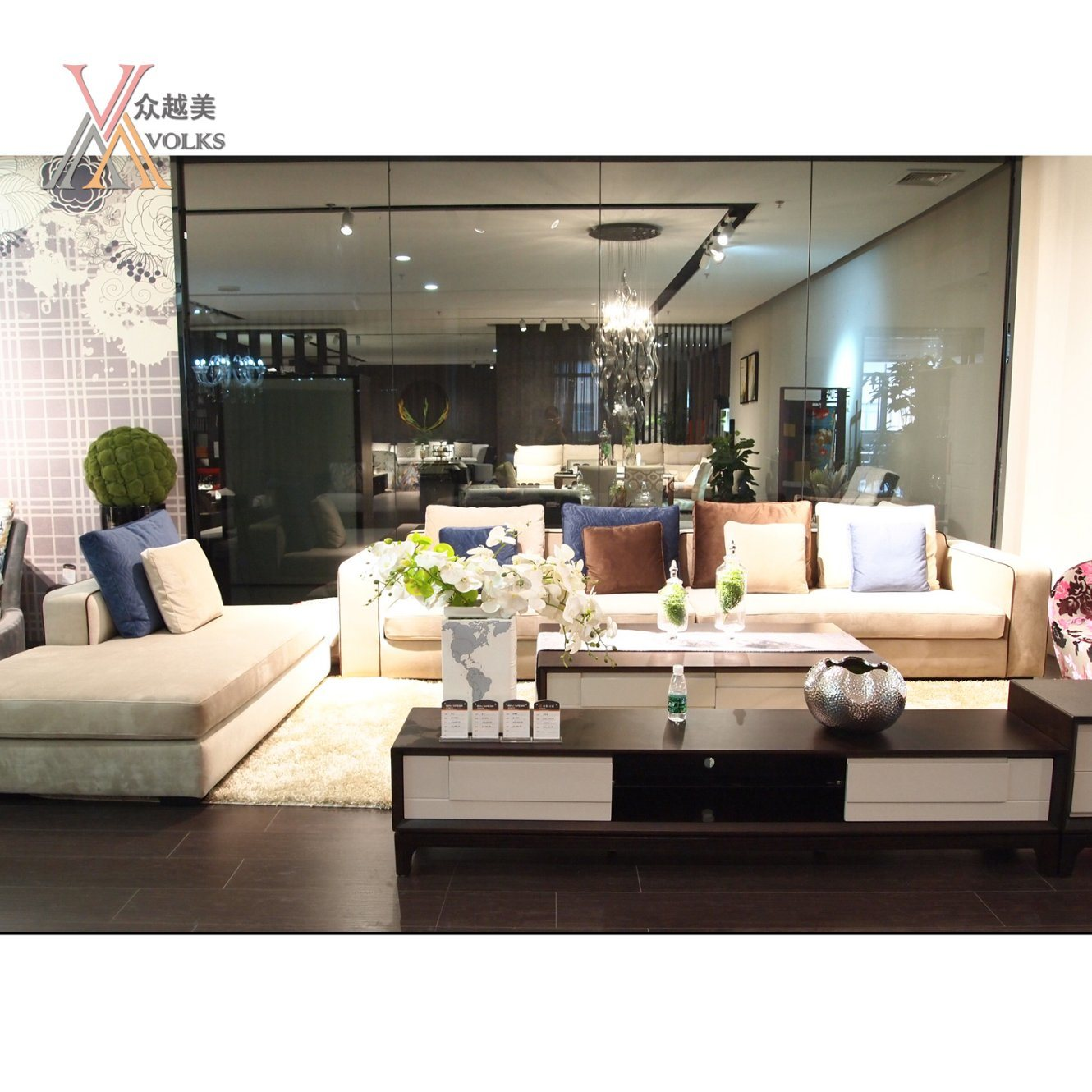China Blue And Off White Color Fabric Living Room Modern