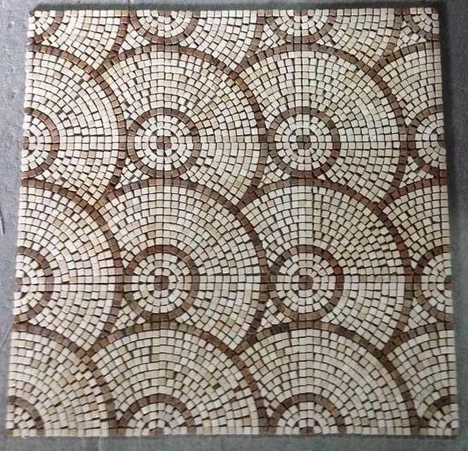 China Mosaic Floor Tile, Round Pattern Marble Stone Mosaic - China ...