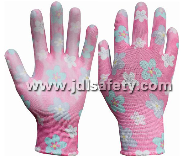 Printed Polyester Work Glove with PU Palm Coated (PN8014-8)