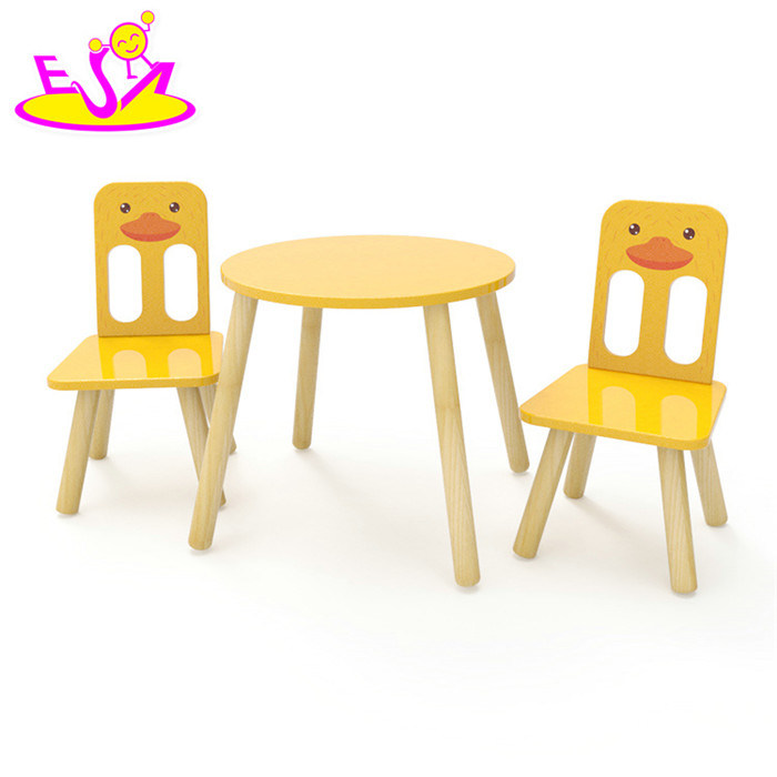 China High Quality Preschool Cartoon Duck Painted Wooden Toddler Table And Chair Set With Best W08g236 Kids Desk Chairs School Furniture