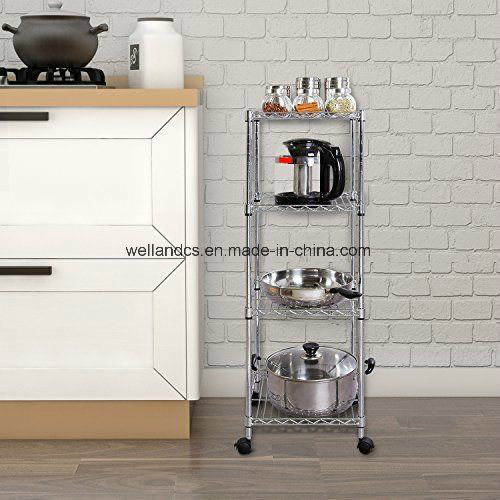 Mobile 4 Shelf DIY Chrome Metal Kitchen Pantry Pan And Pot Lid Storage  Organizer Rack Trolley