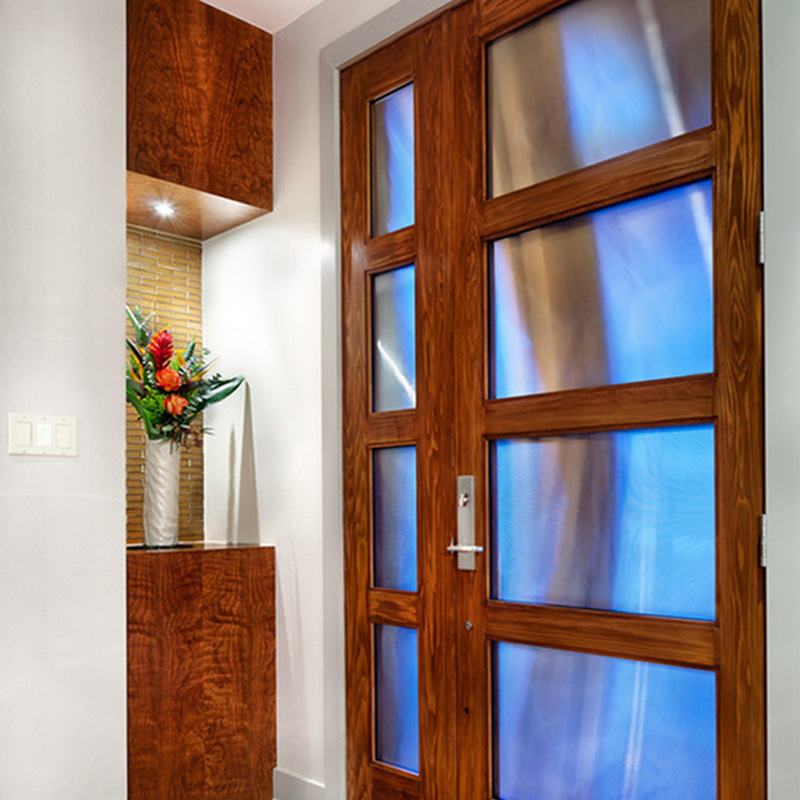 China Wholesale Tempered Glass Inserts Solid Double Wood Doors