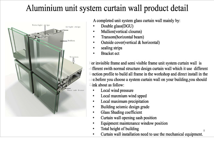 Building Exterior Facade Reflective Glass Invisible Frame Aluminum Curtain Wall System pictures & photos