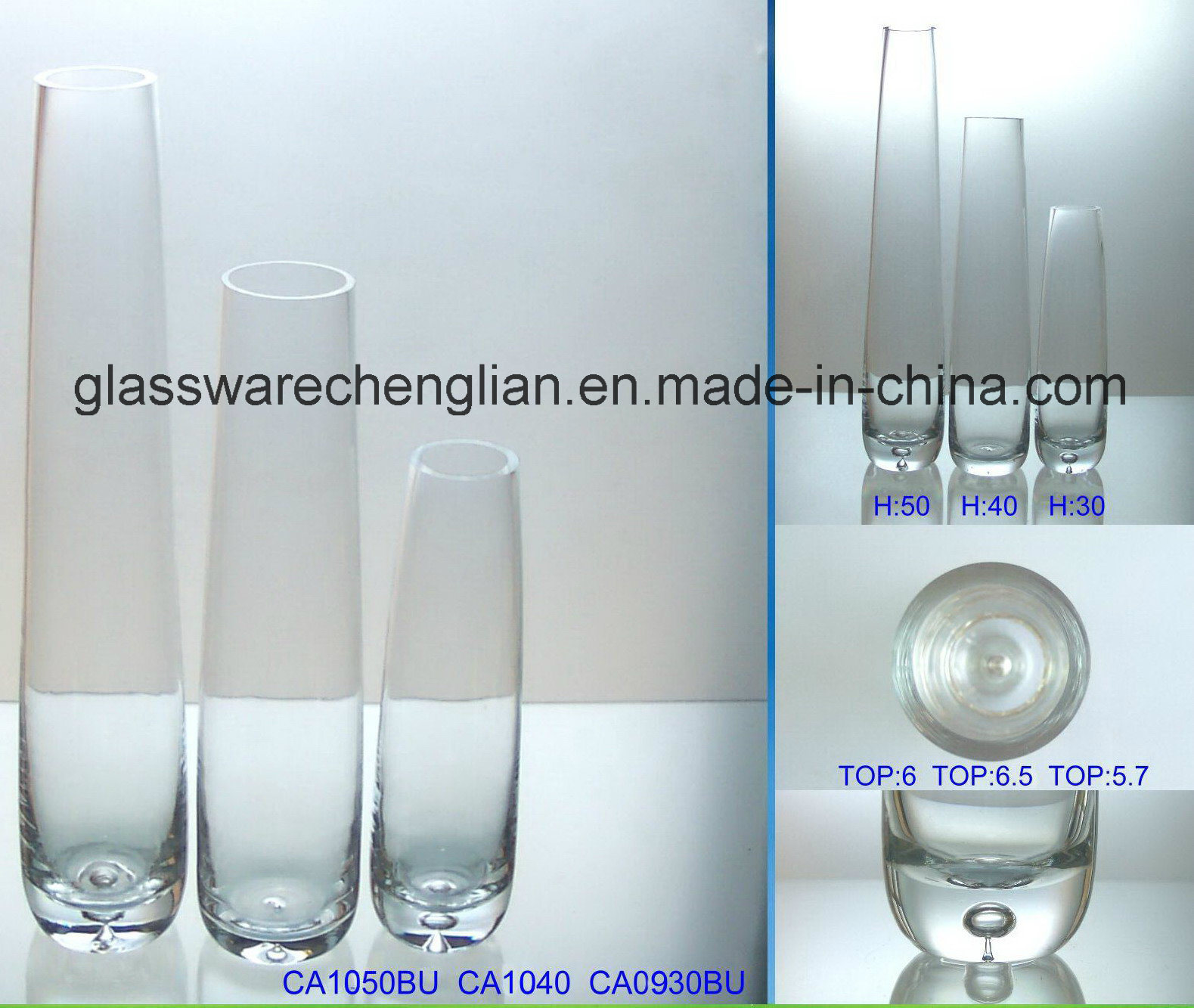 Hand Made Crystal Glass Flower Vase (V-026)