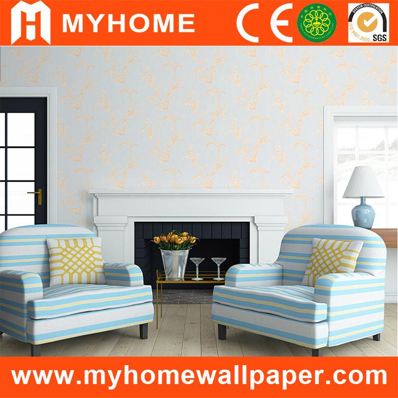 Hot Item European Simple Design White Silver Wallpaper Hm20505