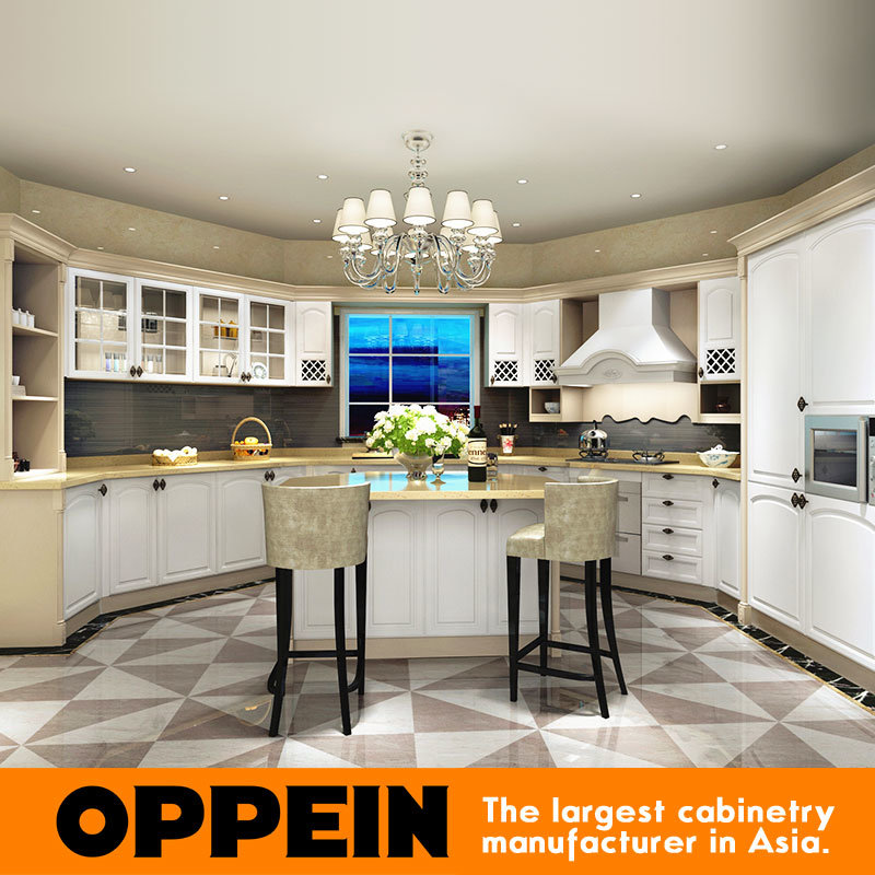 China Oppein Classic Solid Wood Curved Kitchen Furniture With Island Op15 S15 China Kitchen Cabinets Kitchen Furniture