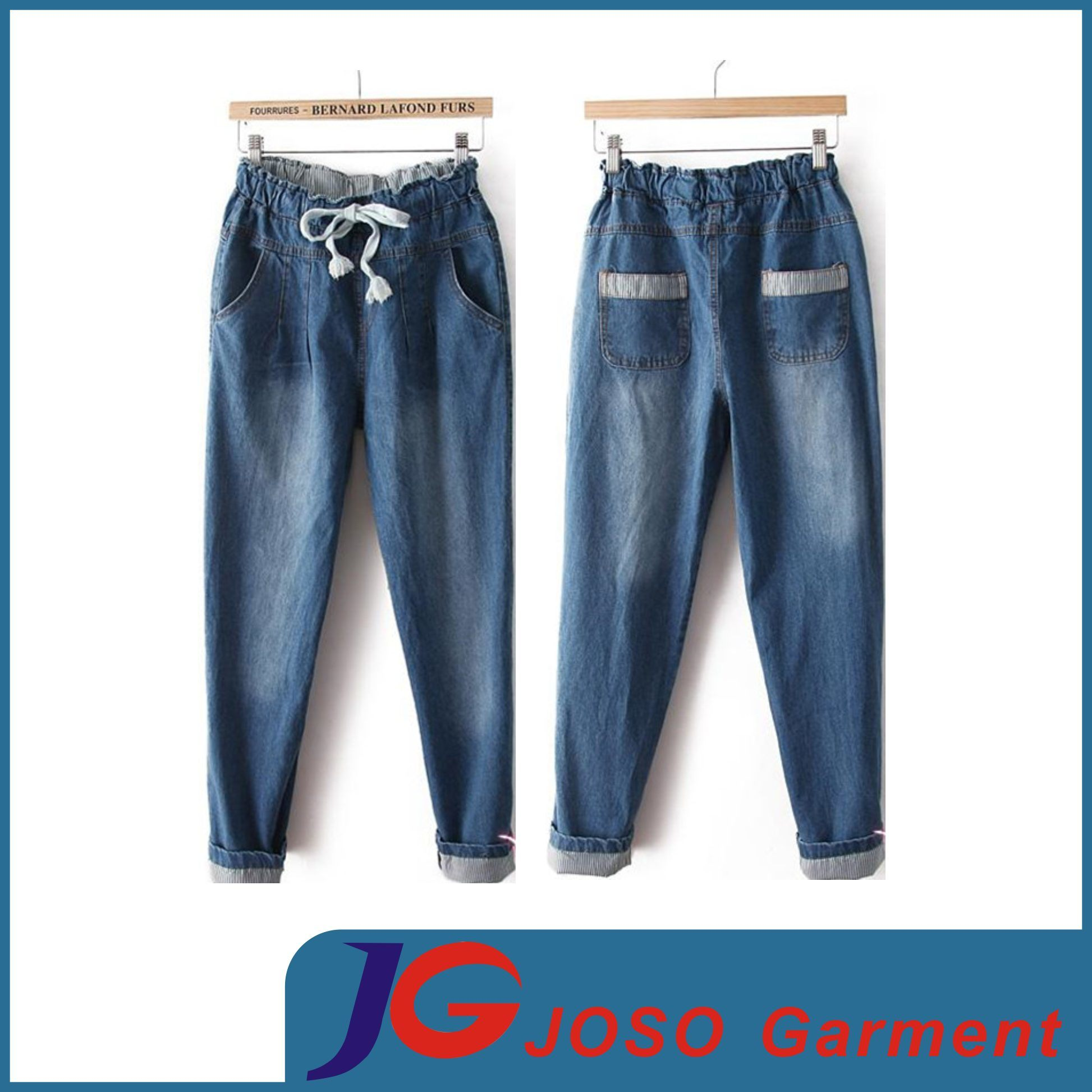 Women Clothing Elasticated Jeans Cotton Trousers (JC1386)