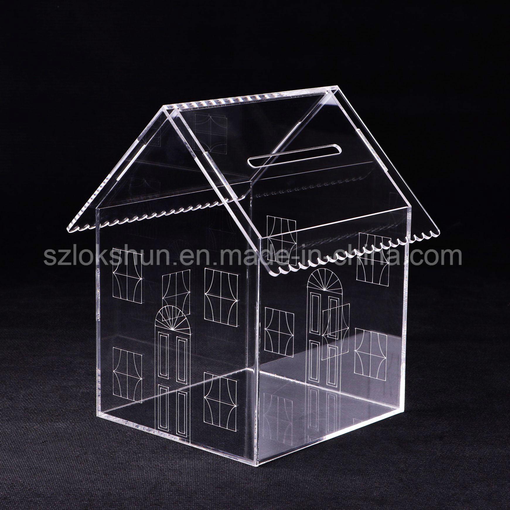 Hot Item Designed House Shaped Clear Acrylic Money Collectioncoingift Box