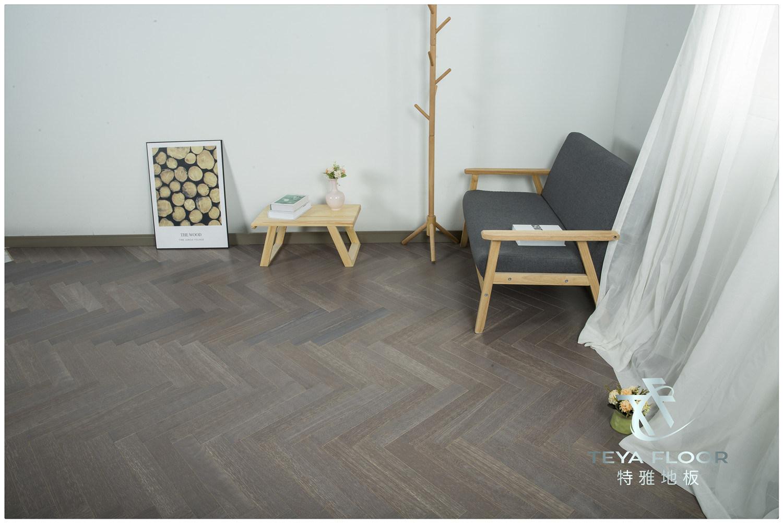 Oak Dark Grey Color Herringbone Parquet
