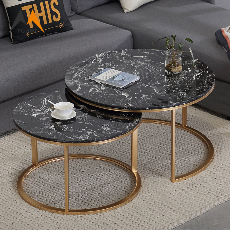 China Living Room Furniture Modern Black Marble Coffee Table Sets