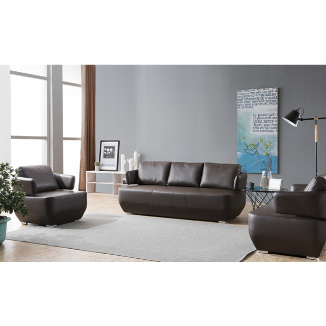 High End Black Office Leather Sofa Set