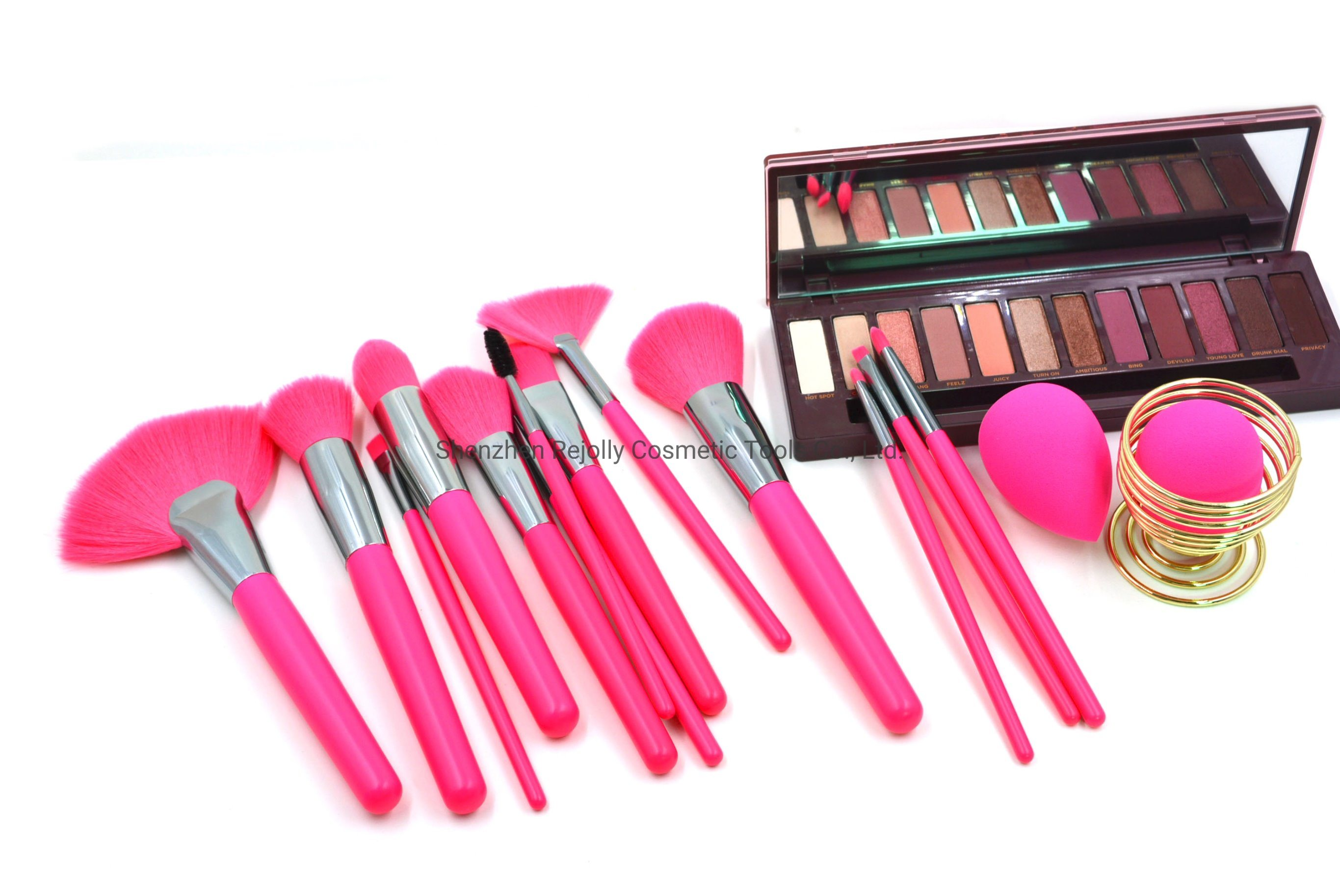 China 24pcs Neon Pink Makeup Brush Set