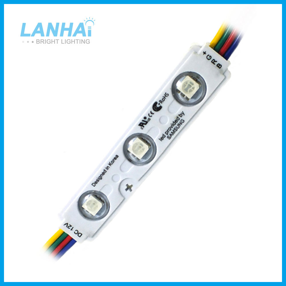 12V 75*15mm 1.5W 5050 RGB Colar Changing LED Module Light for Light Box Outdoor Ad Sign Lighting pictures & photos