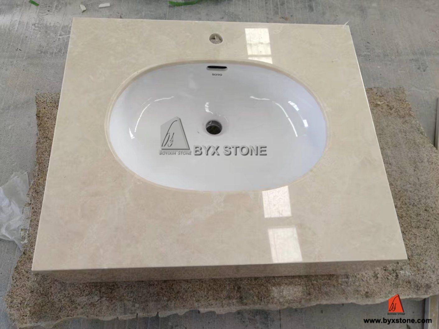 China Beige Marble Countertop Stone Bathroom Vanity Top With Integrated Sink China Vanity Top Marble Vanity Top