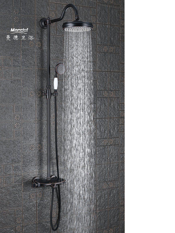 Hot Item Mandel High Quality Big Led Color Square Black Rainfall Shower Head