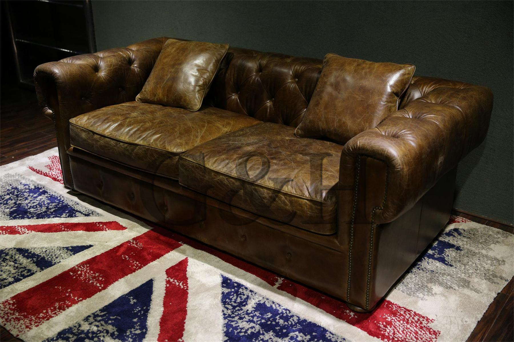 China European Top Grain Leather Sofa With Solid Wood Frame