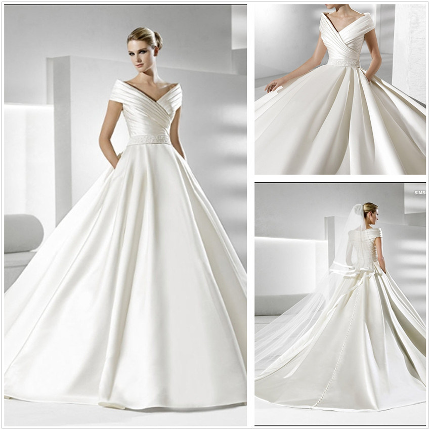 China Simple But Elegant Satin Wedding Dress (XZ186) - China Satin ...