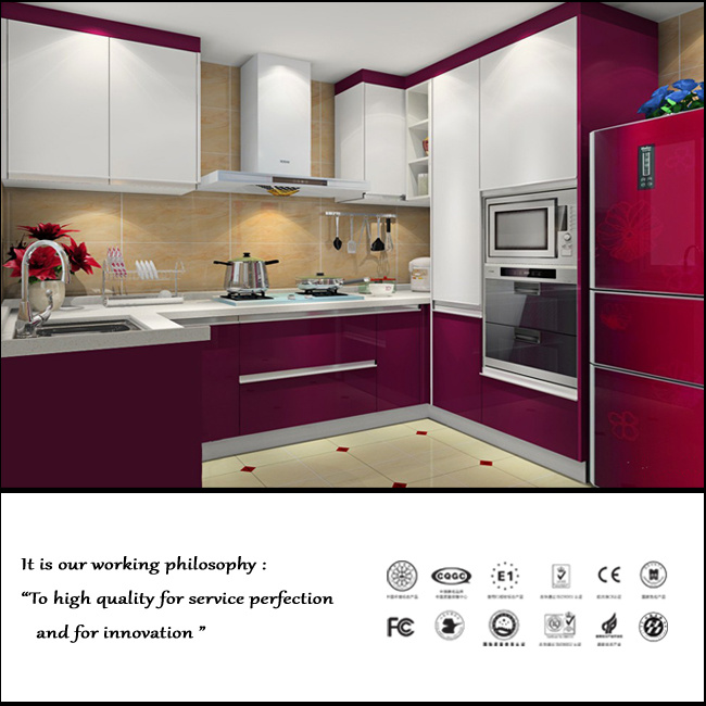 Red And White Colour Kitchen Cabinet