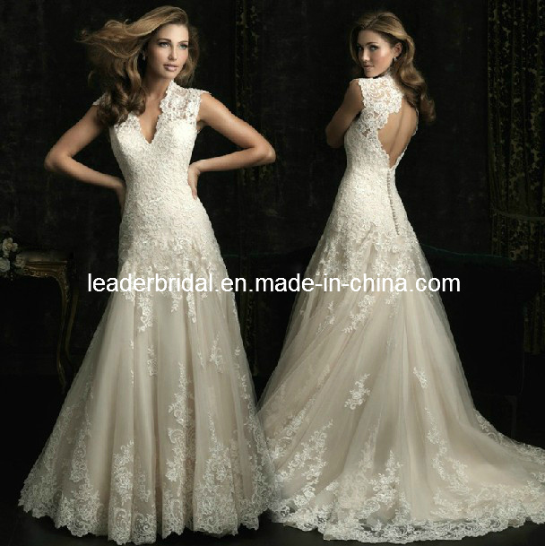 China Lace A-Line V-Neck Bridal Wedding Gown Corset Bodice Cap ...