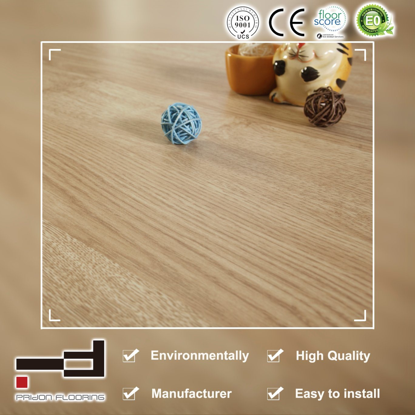 China Yellow Home Decoration Embossed Laminate Wood Flooring For Indoor Laminated