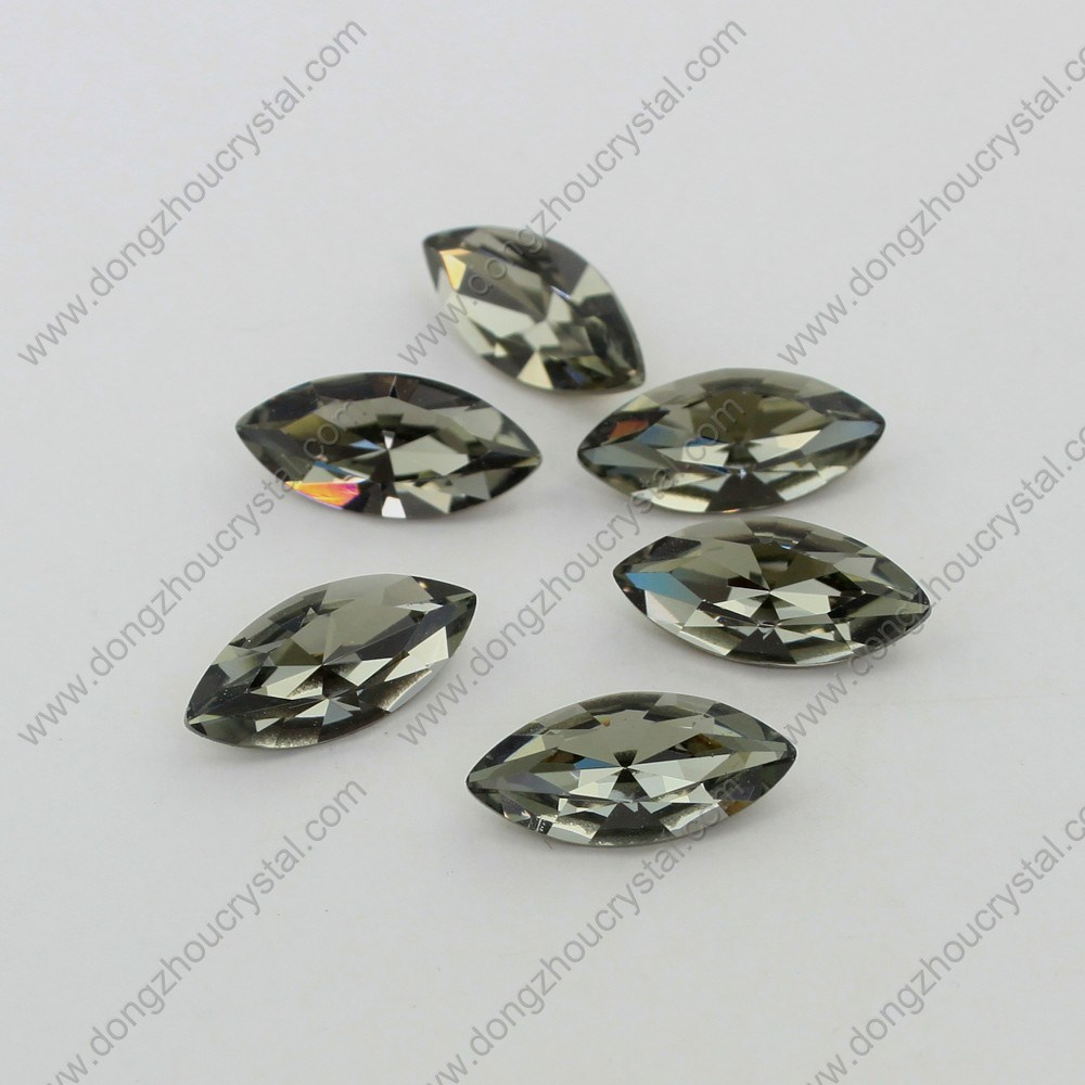 9*18mm Black Diamond Horse Eye Crystal Jewelry Stone for Wholesale