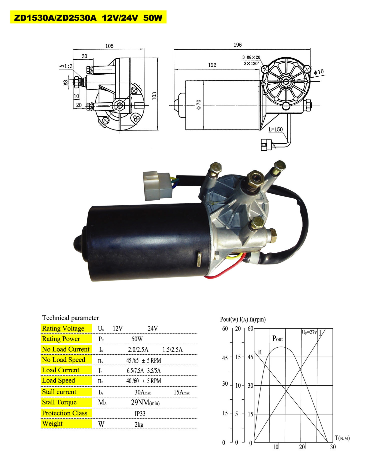 29 nm 50w doga type wiper motor for truck, bus and special vehicles,  1500000 cycles guaranteed