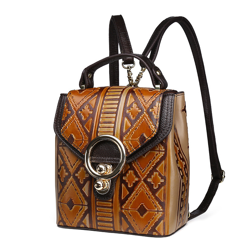Hot Selling Good Quality Vintage Brown Cow Leather Ladies Handbag Women Backpack pictures & photos