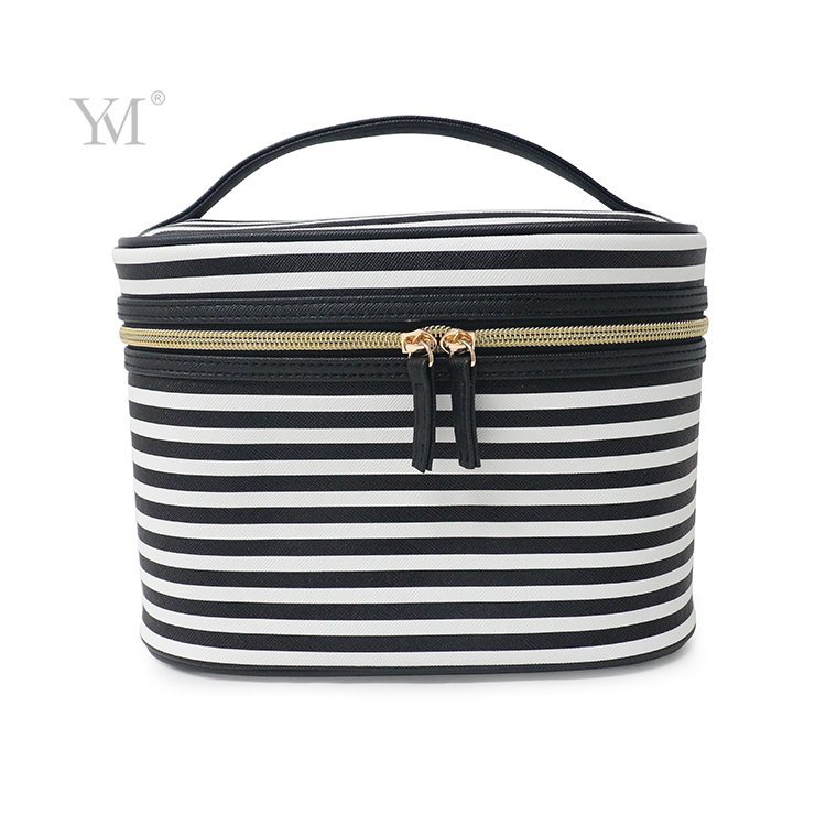 Striped Felt Barrel Shape Hanging Makeup Organizer Case with Mirror pictures & photos